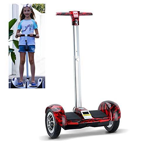 Patinete Eléctrico 10 Pulgadas Self Balancing Scooter con Barandilla De Seguridad con Fuerte Dual Motor Y LED E-Skateboard Bluetooth Hoverboard Regalo para Niños,Rojo