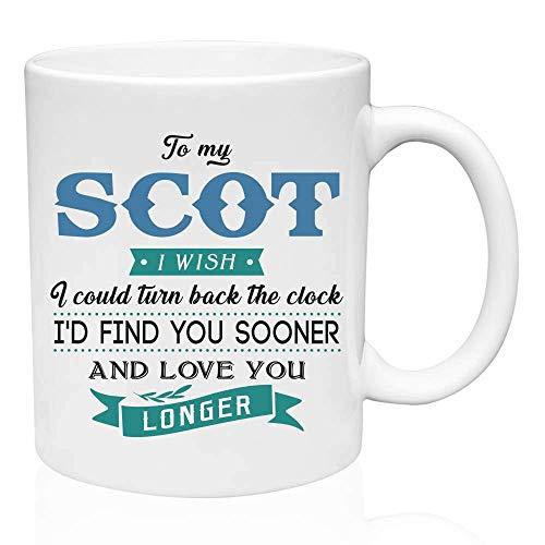 Regalos de San Valentín para él a mi escocés Ojalá pudiera volver atrás el reloj Te encontraría antes y te amaría por más tiempo - Regalo divertido para el esposo de la esposa, Ideas de regalo para Sa