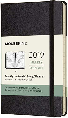 Moleskine 2019 Agenda Settimanale 12 Mesi, Orizzontale, Tascabile, Copertina Rigida, Nero, 9x14 cm