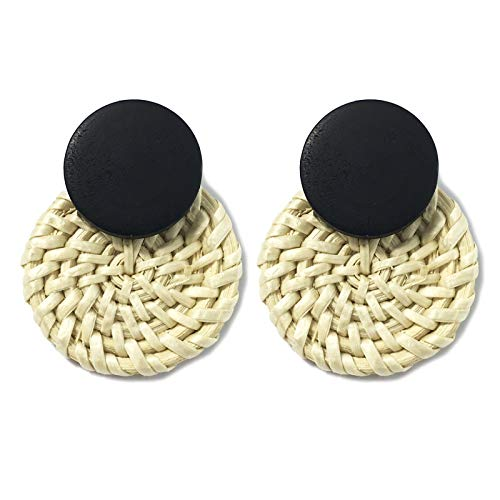 SSN Fashion Temperament Wild Fan-shaped Handmade Straw Woven Earrings Wood Rattan Beach Street Shooting With Female Accessories (Color : Brown2)