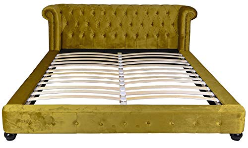 Samt Bett 180x200cm Chesterfield Ehebett Doppelbett Polsterbett Bettgestell fha055 Palazzo Exklusiv