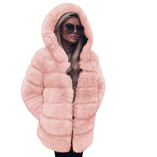 iYYVV Womens Fashion Luxury Faux Fur Coat Hooded Autumn Winter Warm Overcoat Jacket Pink