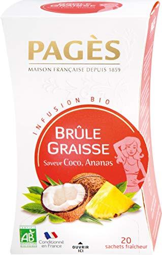 Pagès Infusion Bio Brûle Graisses Saveur Coco, Ananas - boîte De 20 Sachets