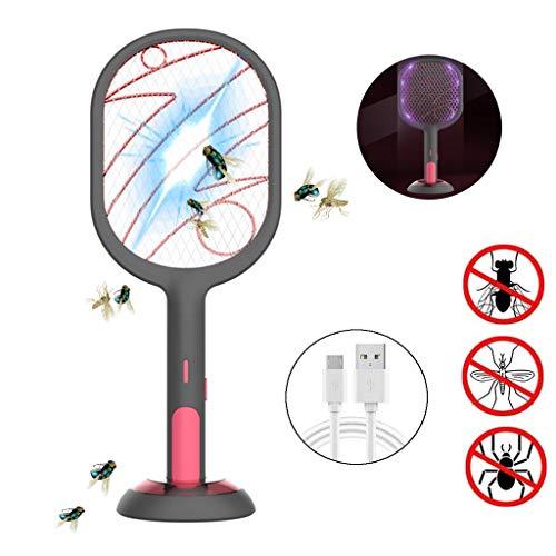 GFBHGF Elektrische Fliegenklatsche USB Wiederaufladbar, Extra Stark, Moskito Zapper Insekten Mörder mit UV Licht, Fliegenfänger, Fliegen fänger Zapper, für den Innenbereich im Freien Black