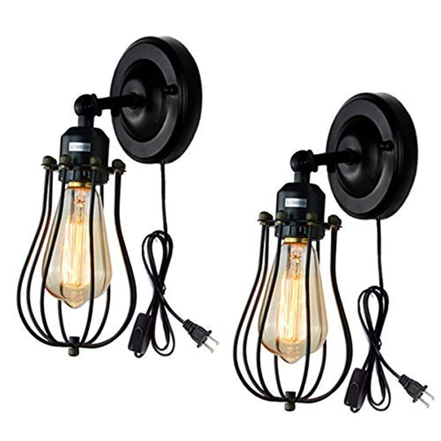 Wire Cage Wall Sconce 2 Pack Industrial Wall Lamp Plug-in Cord Wall Light Edison E26 Base Black Light Fixture for Bedroom Garage Porch Mirror