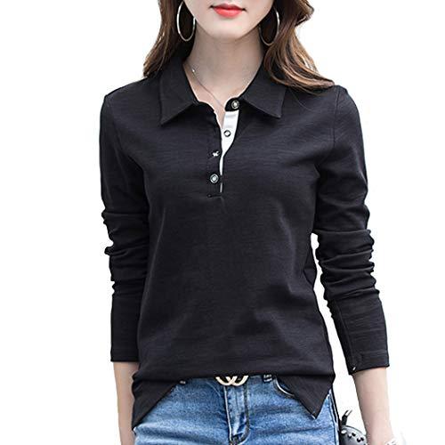 SAGOJP ポロシャツ レディース 襟付き トップス 長袖 ゴルフ シャツ テニスウェア ボウリングウェア スキッパー ポロ シャツ 女性 洋服 5色 M-4XL 4つボタン-黒-3XL