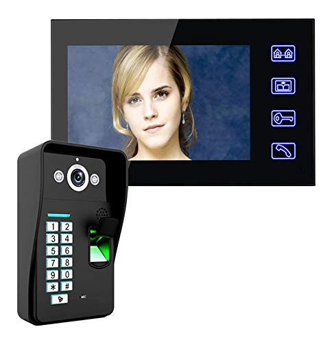 Jxiao Touch Key 7'LCD Reconocimiento de Huellas Dactilares Video Door Phone Kit de Sistema de intercomunicación + SIN Cerradura eléctrica + Desbloqueo de Control Remoto inalámbrico
