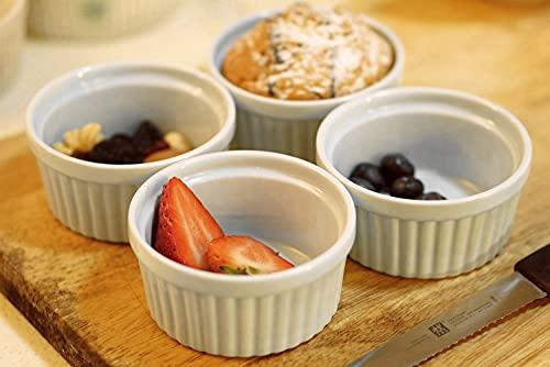 Cinf White Porcelain 6 oz Set of 4 Ramekins Baking Cup Bowls Souffle Cups Dishes