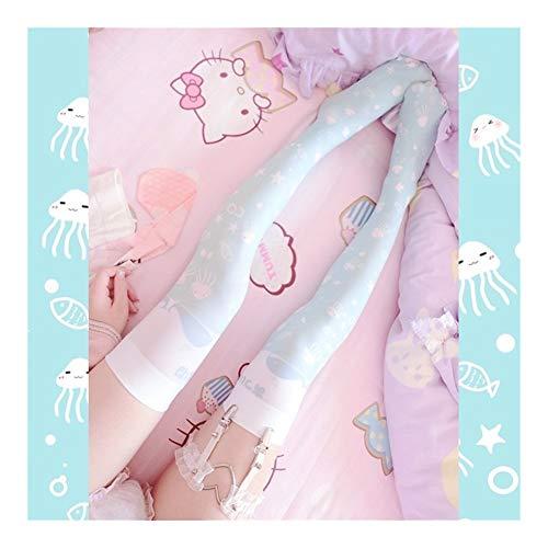 YUNGYE Strümpfe Sommer Kühl Und Erfrischend Druck Kniestrümpfe - Japanische Anime COS Socken (Color : Sky blue, Size : One Size)