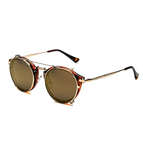 Dollger Double Lens Flip Dual Fashion Sunglasses Teashades Myopia Can Be Made (Brown Mirror...