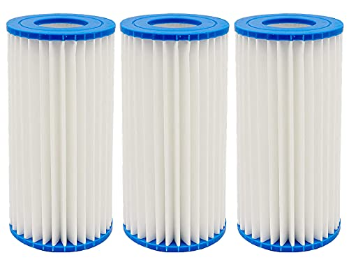 Housevac 3 Pack Pool Filter Cartridge, Replaces Type A or C Filter Pump Cartridge, Compatible with Intex 29000E/59900E,Unicel C-4607, Pleatco PC7-120 Filbur FC-3710