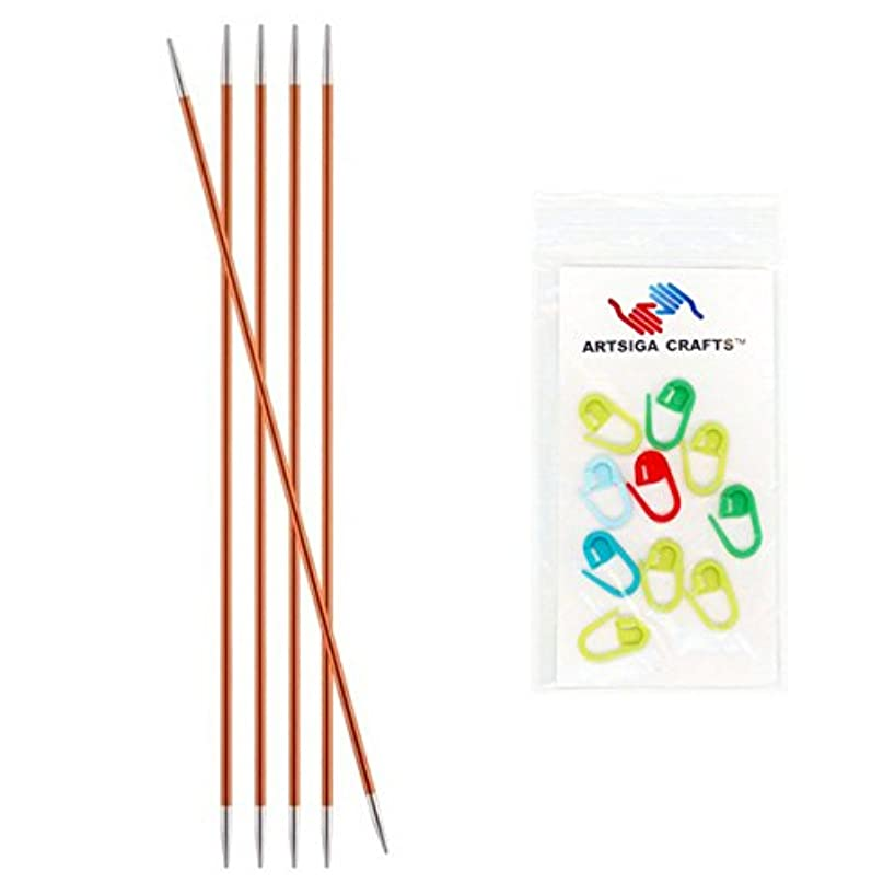 Knitter's Pride Zing Double Pointed Knitting Needles 6in. Size US 2 (2.75mm) Bundle with 10 Artsiga Crafts Stitch Markers 140004
