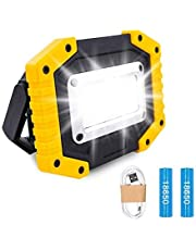 Trongle LED Rechargeable Work Lights, 30W Floodlight Battery Security Light with 3 Modes Outdoor COB Floodlight Camping Lights with USB Waterproof for Yard, Garage, Fishing, Hiking(Batteries Included)