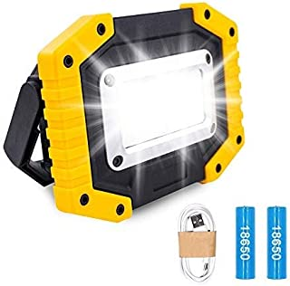 Trongle LED Rechargeable Work Lights, 30W Floodlight Battery Security Light with 3 Modes Outdoor COB Floodlight Camping Li...