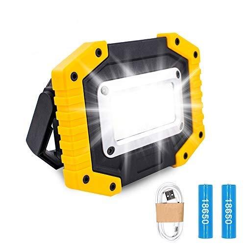Projecteur de Chantier LED Rechargeable – Trongle Lumière de Sécurité de Batterie de Rrojecteur 30W avec 3 Modes de Camping COB Floodlight avec USB étanche pour la Pêche, Randonnée(Batterie Incluses)