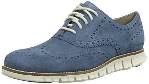 Cole Haan Zerogrand Wingtip, Zapatos de Cordones Oxford para Hombre, Blue (Vintage Indigo Suede/Ivory Vintage Indigo Suede/Ivory), 43 EU