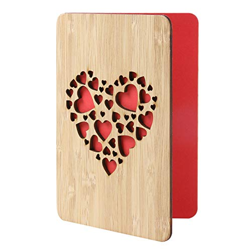 Wooden Card with 'Love Floating'Design,Bamboo Wedding Anniversary Card Gifts for Wife,Husband,He or She,Happy Birthday Card for Girlfriend or Boyfriend,or Other Occasion for Lovers