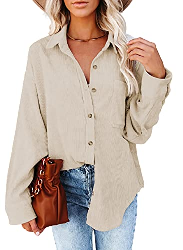 Dokotoo Womens Oversized Long Sleeve Button Up Pocket Shirts Ladies Loose Fit Corduroy Tunic Blouse Tops S Beige