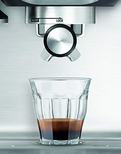 Breville BES810BSS Duo Temp Pro Espresso Machine, Stainless Steel, medium 6 15 bar Italian made pump starts with low pressure to bloom coffee grounds, then gradually increases pressure for extraction Extract one or two espresso shots at a time; Manual control of espresso shot volume 1 and 2 cup single and dual wall filter baskets included for use with freshly ground or pre ground coffee beans