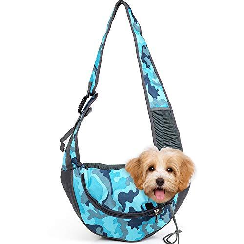 Vejaoo Mochila de Perros Gatos Portador Bolsa para Mascotas Bolsa de Transporte Suave y Cómoda XZ029 (S, Blue Camouflage)