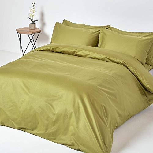 HOMESCAPES Parure de lit en Coton égyptien 1000 Fils, Housse de Couette 200x200 cm et 2 Taies d'Oreiller 50x75 cm, Coloris Vert Olive