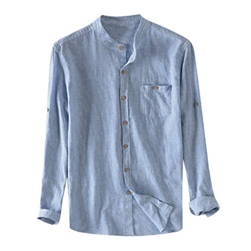 Carol -1 Herren Hemd Leinenhemd Longsleeve Herren T-Shirt Regular Fit Langarmshirt Stehkragen Hemd Blusen Einfarbig Freizeithemd für Männer