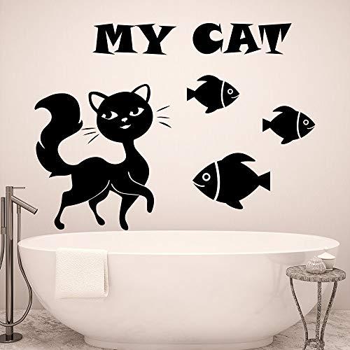 sanzangtang Meine Katze Kunst Design mit Katze Fisch Silhouette Wandtattoo niedlich Wandmalerei Wandaufkleber Home Badezimmer Dekoration 85x120cm