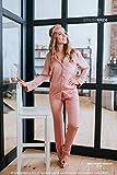 Handmade Blush Sweet Dreams - Silk Pajama Set with Pants and Long Sleeve, bridesmaid pj pants set/Lux Silk Fabric + sleep mask