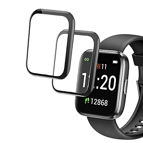 smaate 3D Screen Protector Compatible with Letsfit IW1, IW2 and Letscom GT01 Smart Watch, 2-Pack, Full Coverage, Curved Edge frame, Anti-Scratch, Anti-shatter, High Transparency