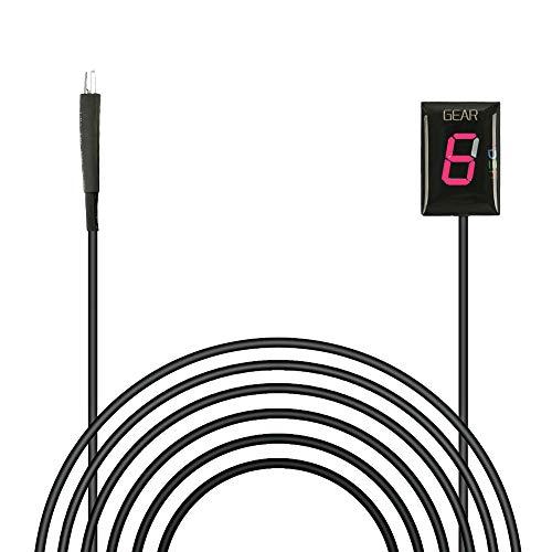 Ganganzeige Motorrad,IDEA Wasserdicht 6 Speed LED Digital Anzeige LED Display Schalthebel Sensor Plug & play für Honda (Rot)