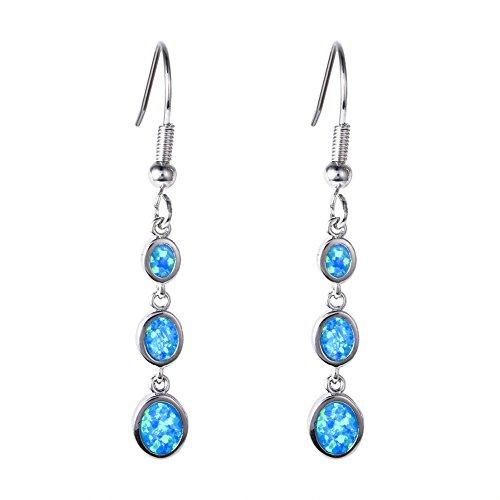 OMZBM Feueropal Lange Baumeln Ohrringe Sterling Silber Hypoallergen Anhänger Haken Ohrringe Schmuck Mädchen Birthstone Geschenk,Blue