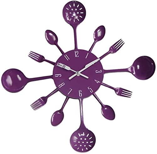 Cubiertos Metal Cocina Pared Reloj Cuchara Tenedor Creativo Cuarzo montado en Pared Relojes Moderno diseño Decorativo horloge murale, Negro, 16 Pulgadas