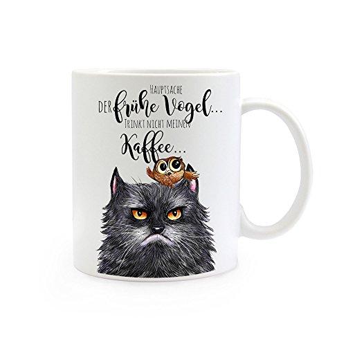 ilka parey wandtattoo-welt® Tasse Becher Kaffeetasse Kaffeebecher Katzentasse Katzenbecher Katze Tasse Katze Becher grimmige Katze und Eule mit Spruch der frühe Vogel. ts359