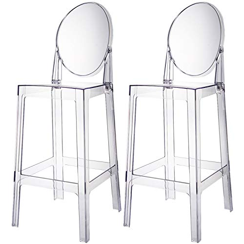 """2xhome Set of 2 30"""" Seat Height Modern Contemporary Bar Stool with Oval Back Armless Polycarbonate Transparent Clear"""