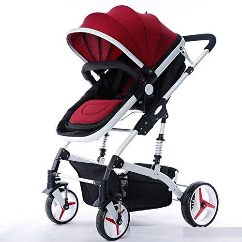 MAMINGBO Cochecito de bebé Cochecito for bebé, cochecito Reversa o hacia adelante Cubierta de lluvia Cochecito de bebé plegable for recién nacidos y niños pequeños (Color : Rojo)