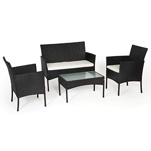 BENEFFITO Tulum - Muebles de jardín de Resina Trenzada Negra - 4 Asientos: 1 sofá, 2 sillones, 1 Mesa de Centro - Cojines Beige con Cremallera