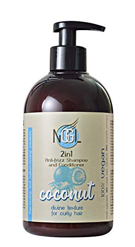 NGGL - Champú y acondicionador 2 en 1 vegano con aceite de coco 100% natural para pelo encrespado, 500 ml