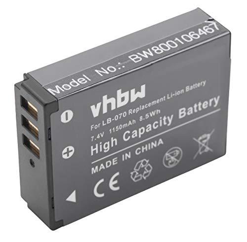 vhbw Batería reemplaza Kodak LB-070 para cámara Digital, DSLR (1150mAh, 7,4V, Li-Ion)
