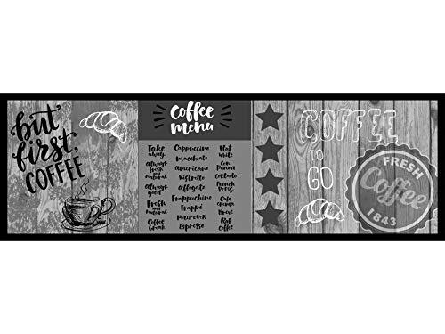 Primaflor - Ideen in Textil Küchenvorleger Küchen-Läufer Waschbar - 50 x 150 cm, First Coffee Grau, Rutschfester Schmutzfangläufer Küchenteppich für Küche & Flur