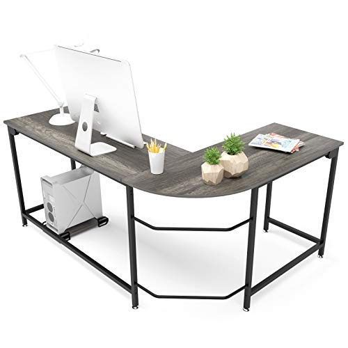 Teraves Modern L-Shaped Desk Corner Computer Desk Home Office Study Workstation Wood & Steel PC Laptop Gaming Table (Small, Black Oak)