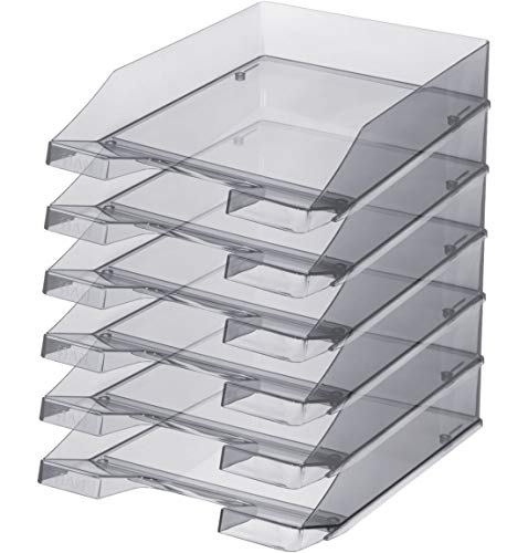 HAN Ablagekorb Standard aus hochwertigem Kunststoff, stapelbar, DIN C4, 6 Stück, grau-transparent