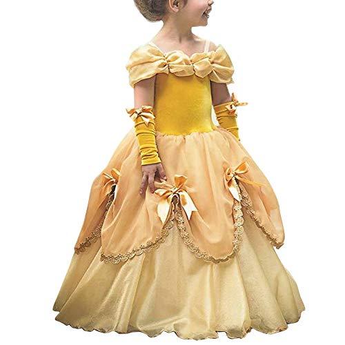 FYMNSI Mädchen Prinzessin Belle Kleid Die Schöne und das Biest Märchen Prinzessin Cosplay Schulterfrei Tüll Maxikleid Halloween Weihnachten Fasching Partykleid Festkleid Verkleidung Gelb 6-7 Jahre