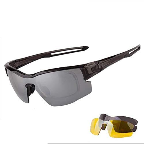 YQYQ Gafas Deportivas Polarizadas, Unisexo UV400 A Prueba De Viento Gafas De Ciclismo con 3 Lentes Intercambiables Gafas Ultraligeras TR90 para Bicicleta Golf Pesca Senderismo Viaje