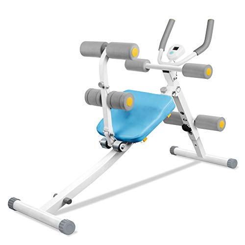 Rückentrainer & Bauchtrainer 2 in 1, Klappbarer Sit-up Bank, Abdominal Crunch-Maschine Hometrainer Bauchmuskelgerät, AB Trainer mit LED Anzeige, Höhenverstellbar, Nutzergewicht bis 100KG (Blau & weiß)