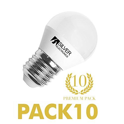 Pack 10 unidades bombilla LED esférica 6W E27 3000K