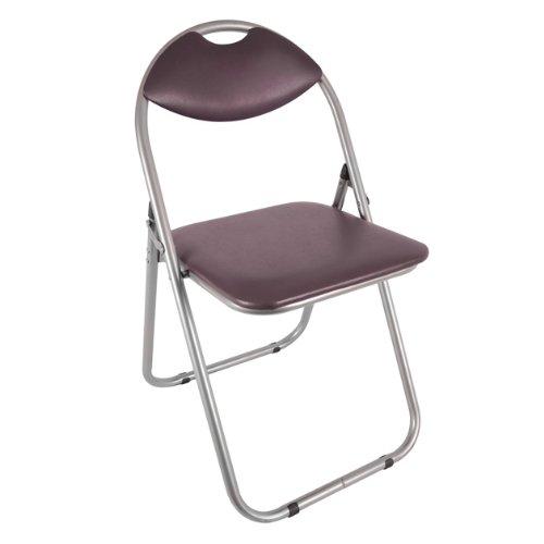 Klappstuhl aus Stahl mit Kunstlederbezug, 43,5 x 46 x 79,5cm, Braun