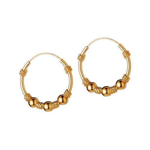 Gold Plated Bali Hoop Earrings Uluwathu