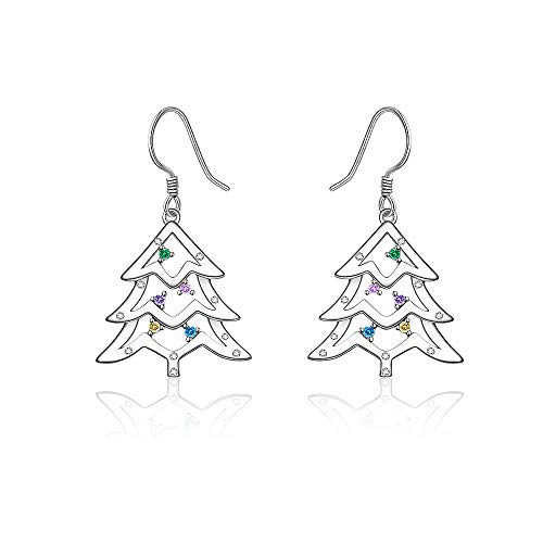 Christmas Tree Earrings Sterling Silver Colorful Dangle Earrings for Women Cartilage Diamond Hypoallergenic Drop Rainbow Huggie Piercing Weird Pin Hook Funny Tiny Dainty Trendy Fashion Holiday Gift