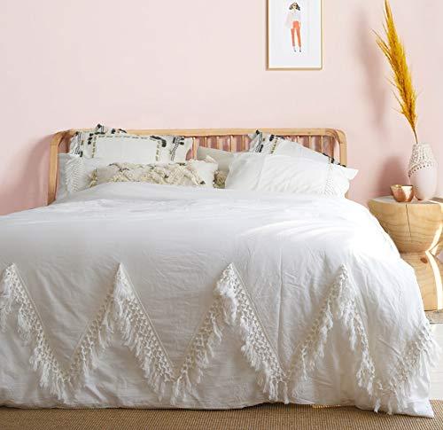 Boho Comforter White Duvet Cover Queen Boho Bedding Tassel...