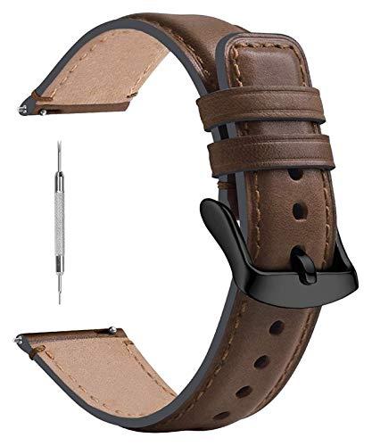 WYYHYPY Correa de reloj de cuero 18 mm 20 mm 22mm, 7 colores Classic Watch Bands Compatbile con Samsung Galaxy Watch, reloj inteligente fósil, reloj Huawei GT2 y más correa de reloj